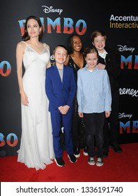 Angelina Jolie, Knox Leon, Zahara Marley, Vivienne Marcheline and Shiloh Nouvel Jolie-Pitt at the World premiere of 'Dumbo' held at the El Capitan Theatre in Hollywood, USA on March 11, 2019.