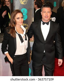 Angelina Jolie (L) and Brad Pitt attend the EE British Academy Film Awards 2014 at The Royal Opera House on February 16, 2014 in London.