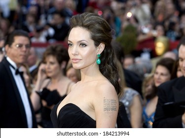 Angelina Jolie, wearing Lorraine Schwartz earrings, at 81st Annual Academy Awards - ARRIVALS, Kodak Theatre, Los Angeles, CA 2/22/2009