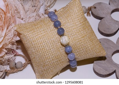 angelite natural stone bracelet purple beads with one pearl