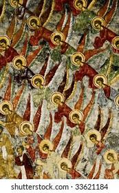 Angels detail from Moldovita monastery wall