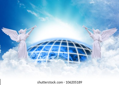 Angels heaven and earth background : Elements of this image furnished by NASA