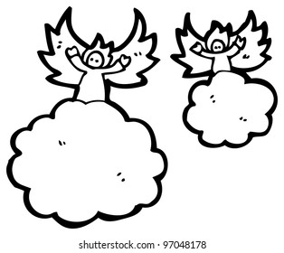 angels on clouds cartoon