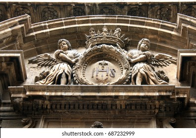 Angels on the facade of a catholic church
