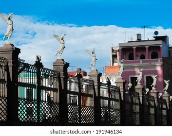 Angels on the fence of Puebla temple