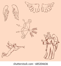 The Angels. Pencil sketch by hand. Vintage colors. Image is a raster copy.
