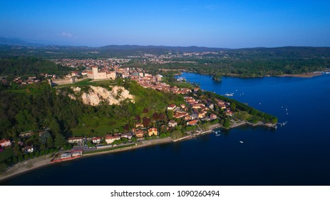 Angera an aerial view of Rocca Borromea in Angera town, Angera, Maggiore Lake, Varese, Lombardy, Italy.