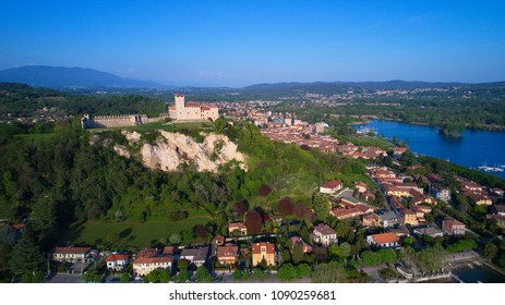 Angera, Italy, the fortress over Lake Maggiore view from Arona
