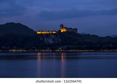 The Angera Rock by night