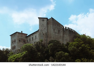 Angera/Italy - June 8, 2019: The Rocca Borromeo, in Angera, also called Borromeo Castle. The fort dates back to the 13th century and stands on the Southern shore of the Lake Maggiore.