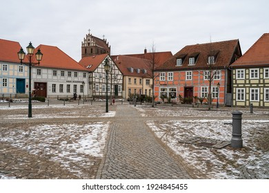 ANGERMUENDE, GERMANY - FEBRUAR 06, 2021: Market Square in the center of an old medieval town (founded in 1254) in the district of Uckermark in the state of Brandenburg.