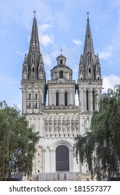 Angers Cathedral (Cathedrale Saint-Maurice d'Angers) was constructed on orders of bishops Normand de Doue and Guillaume de Beaumont after original building burnt down in 1032. Angers, western France.