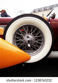 """Angers, France - april 7th 2013 : Alvis 1949 Type TA 14 4 cyl. """"Lady d'Armor"""" : focus on a wheel. The car has been restored by the naval architect Jean Yves Manac'h in yachting' style."""