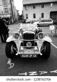 """Angers, France - april 7th 2013 : Alvis 1949 Type TA 14 4 cyl. """"Lady d'Armor"""" exhibed on the parking of the castle. She has been restored by the naval architect Jean Yves Manac'h in yachting' style."""