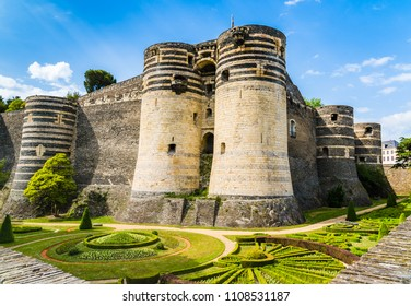 Angers, France: Castle of Angers, founded in 9th century by the Counts of Anjou, expanded to its current size in 13th century, a historical monument since 1875, located overhanging the river Maine.