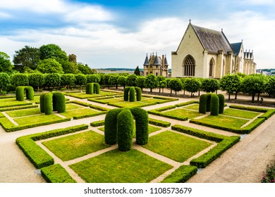Angers, France: Chapel and gardens inside Castle of Angers, founded in 9th century by the Counts of Anjou, a historical monument since 1875, located overhanging the river Maine.