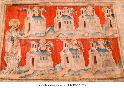 Angers, France: Scene from the Apocalypse Tapestry, a large medieval French set of tapestries commissioned by Louis I, Duke of Anjou, and produced between 1377 and 1382.