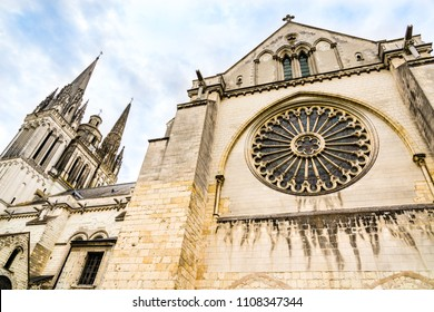 Angers, France: Side view of St. Maurice Cathedral of Angers, built between the 11th and 16th centuries, classified in 1862 as a national monument.