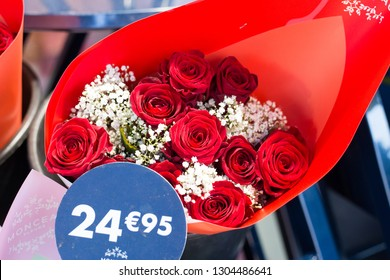 Angers, Maine et Loire / France - February 4 2019: bouquet of red roses with a price