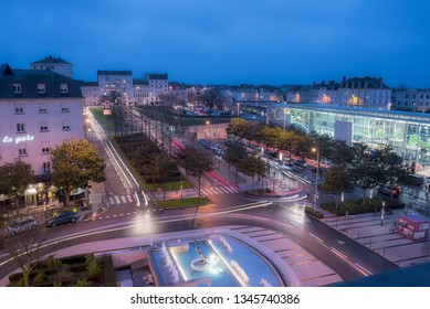 Angers, Maine-et-Loire / France - December 24th 2018: Night view of the front of the Station of Angers main city of Anjou area in France.