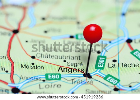 Angers Pinned On Map France Stock Photo Edit Now 451919236