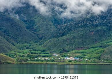 Anggi Lake Arfak Mountain West Papua Indonesia with Village
