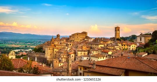 Anghiari italian medieval village panoramic view. Arezzo, Tuscany Italy Europe.