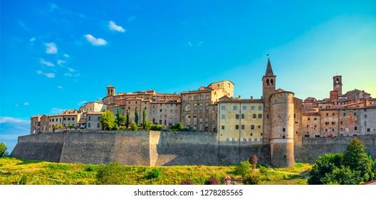 Anghiari skyline italian medieval village city walls. Arezzo, Tuscany Italy Europe.