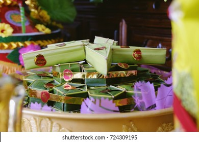 AnGiang, Vietnam - September 23, 2017: spousal cake (Phu The) for wedding traditional in Vietnam.