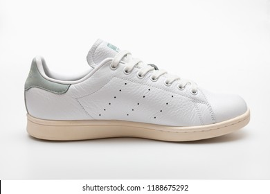 ANGKOK , THAILAND - SEPTEMBER 9, 2018 :Original Adidas stan smith shoes, sneakers, shows the logo on white background. Sport and casual footwear concept.