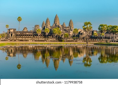 Angkor, Cambodia - 20 may 2017: Angkor Wat in Cambodia. Reflections of the temple in the water.