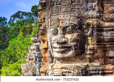 Angkor, Cambodia. Face tower at the Bayon Temple.