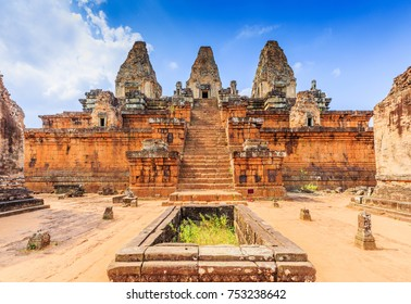 Angkor, Cambodia. Pre Rup temple. The cistern and central towers.
