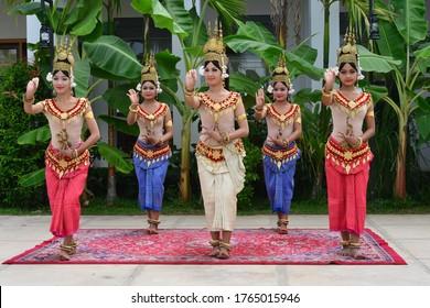 Angkor, Siem Reap, Cambodia, Apsara dancers performing Apsara dance, 17 december 2014