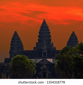 Angkor Site. Sunrise attraction ancient temple complex Angkor Wat, Siem Reap, Cambodia