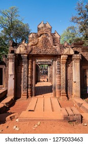 angkor thom, cambodia - 11 28, 2018: banteay srei. citadel of the women. hindu temple