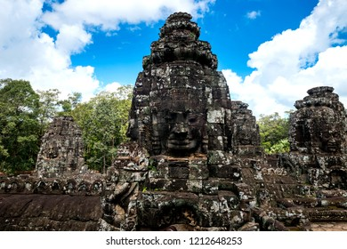 Angkor thom - famous landmark travel and tour in combodia and world heritage.Bayon face at Angkor wat, Combodia,ASIA.