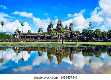 Angkor Wat ancient temple reflection in water lake. Angkor Wat is an UNESCO world heritage site near Siem Reap, Cambodia.