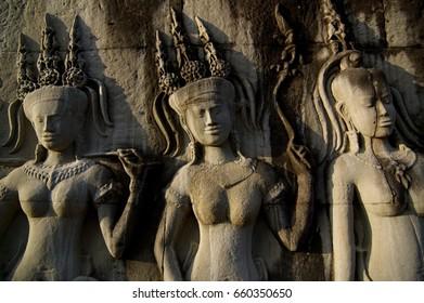 Angkor Wat is a beautiful and ancient art of Cambodia.