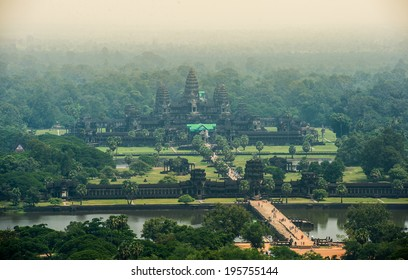 Angkor Wat bird's eye view (due to the haze, the image is slightly grainy).