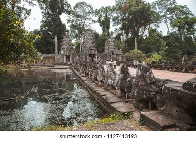 Angkor Wat, Cambodia 24 January 2018 : Tourists at Angkor Wat in Siem Reap. Angkor Wat is a 12th century temple and a world famous UNESCO World Heritage site.