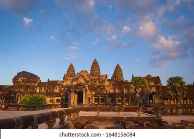 Angkor Wat, in Cambodia. Front general view of western facade at sunset. Angkor Wat is the largest religious monument in the world, and has been declared World Heritage Site by UNESCO in 1992.