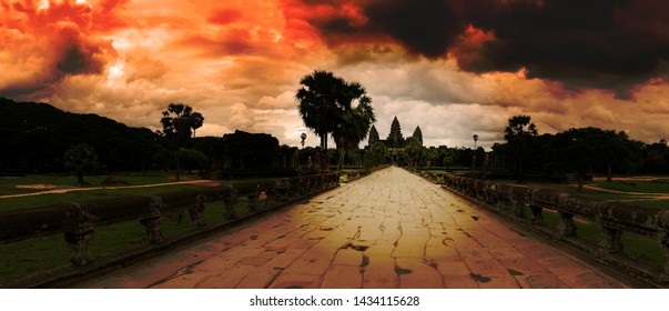 Angkor Wat, Cambodia, Panorama. Road leading up to the main temple.