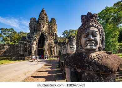 Angkor Wat, Cambodia September 6th 2018 : Tourists at the south gate of the Angkor Thom temple complex, Siem Reap, Cambodia