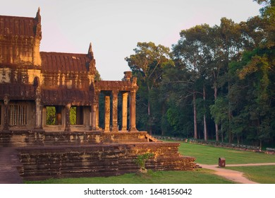 Angkor Wat, in Cambodia. Side view of the southern entrance. Angkor Wat is the largest religious monument in the world, and has been declared World Heritage Site by UNESCO in 1992.
