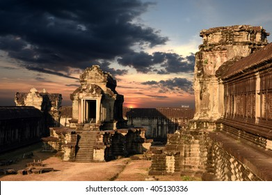 Angkor Wat Capital Temple, Khmer temple in Cambodia at sunset