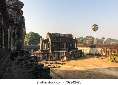 Angkor Wat inside temple in the morning. Siem Reap, Cambodia. It is one of the largest religious monument and a famous tourist attraction in the world.