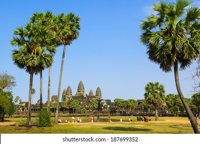 Angkor Wat with palm trees around