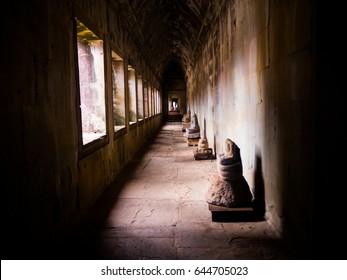 Angkor Wat, part of Khmer temple, ancient lanmark, Siem Reap, Cambodia.