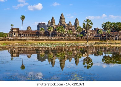 angkor wat reflected on the water